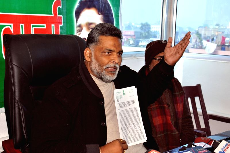 Jan Adhikar Party chief Pappu Yadav addresses a press conference in Patna on Jan 12, 2018. - Pappu Yadav
