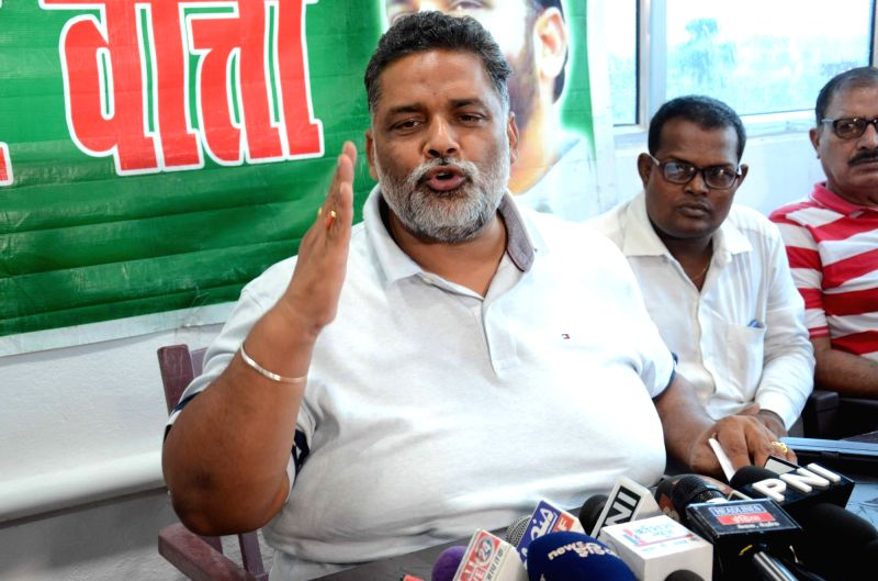 Jan Adhikar Party chief Pappu Yadav addresses a press conference, in Patna on July 28, 2018. - Pappu Yadav