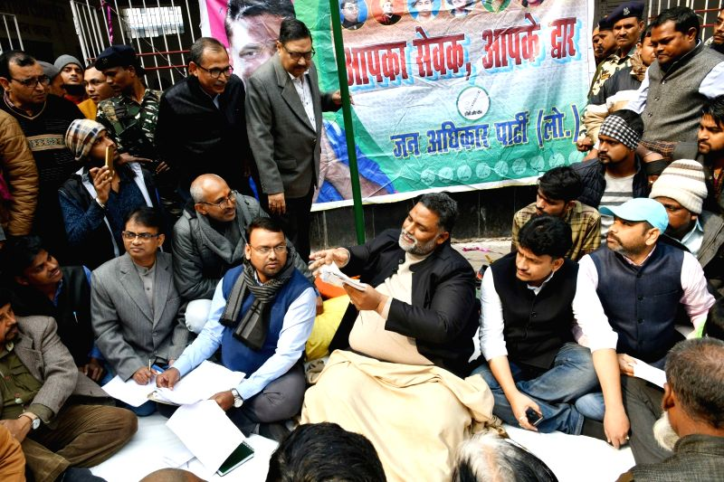 "Jan Adhikar Party chief Rajesh Ranjan alias Pappu Yadav interacts with people during ""Aapka Sevak Aapke Dwar"" programme in Patna on Jan 31, 2018. - Pappu Yadav"