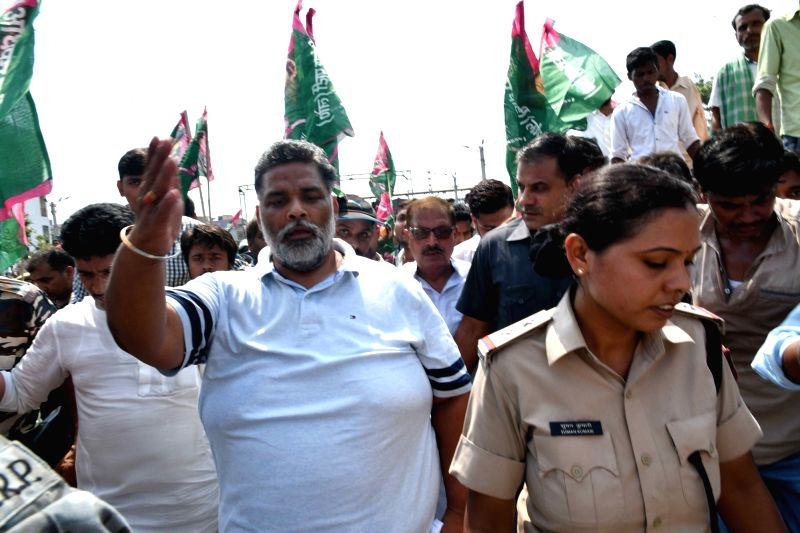 Jan Adhikar Party (JAP) leader Pappu Yadav leads a demonstaration to demand special status for Bihar at Rajendra Nagar Terminal in Patna, on Sunday June 10, 2018. - Pappu Yadav
