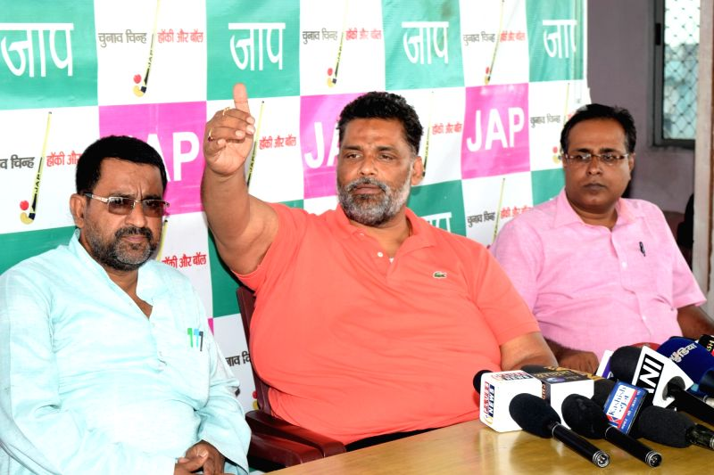 Jan Adhikar Party leader Rajesh Ranjan alias Pappu Yadav addresses a press conference in Patna on July 17, 2016. - Pappu Yadav