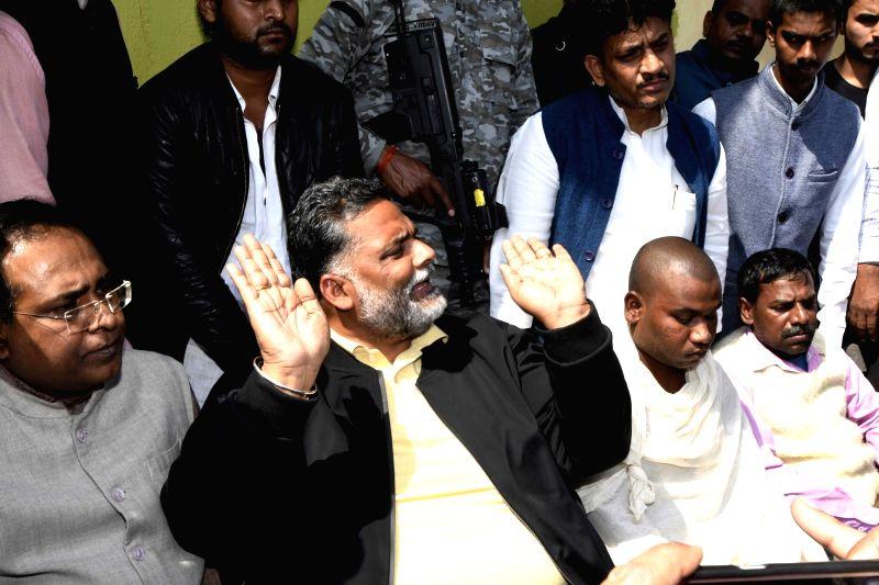 Pappu Yadav visits grief struck family of martyr Sanjay Kumar Sinha