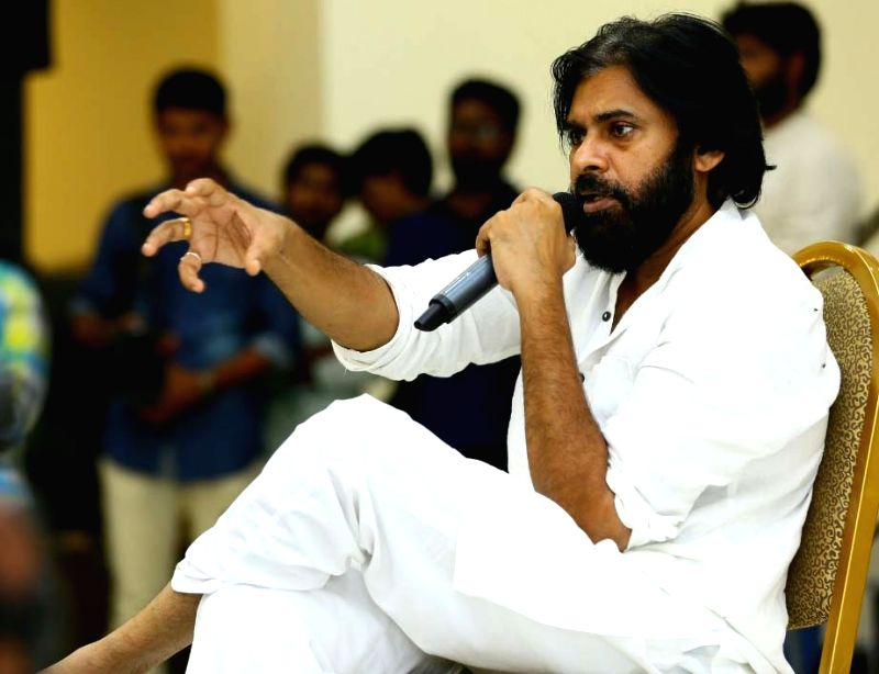 Jana Sena Chief Pawan Kalyan addresses at a party meeting, in Andhra Pradesh's Vijayawada on July 25, 2018.