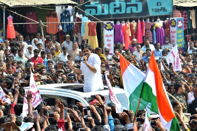 Jana Sena chief Pawan Kalyan addresses during a public rally in Andhra Pradesh's Anantapur District on Jan 28, 2018.