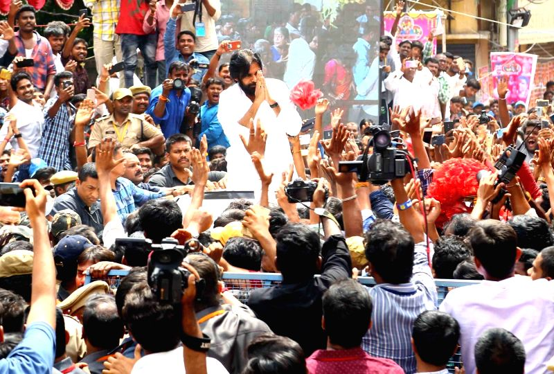 Jana Sena chief Pawan Kalyan arrives at Ujjaini Mahankali temple, in Secunderabad, on July 29, 2018.