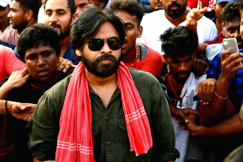 Jana Sena chief Pawan Kalyan during his party's 'porata yatra' that commenced today from Ichchapuram of Andhra Pradesh's Srikakulam district on May 21, 2018.(Image Source: IANS)