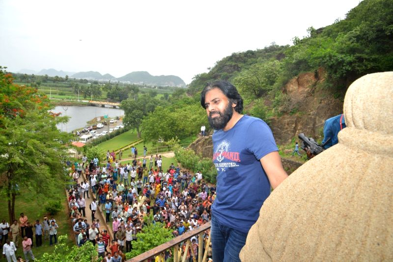 Jana Sena chief Pawan Kalyan during his visit to the Undavalli Caves in Andhra Pradesh's Guntur district on July 22, 2018.