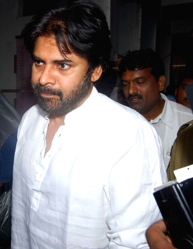 Jana Sena president and Telugu actor Pawan Kalyan arrives at a polling booth to cast his vote in Hyderabad on April 30, 2014.