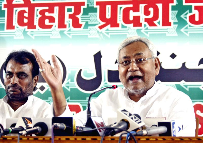 Janata Dal United (JDU) leader and former Bihar Chief Minister Nitish Kumar addresses press at party office in Patna on June 20, 2014. - Nitish Kumar