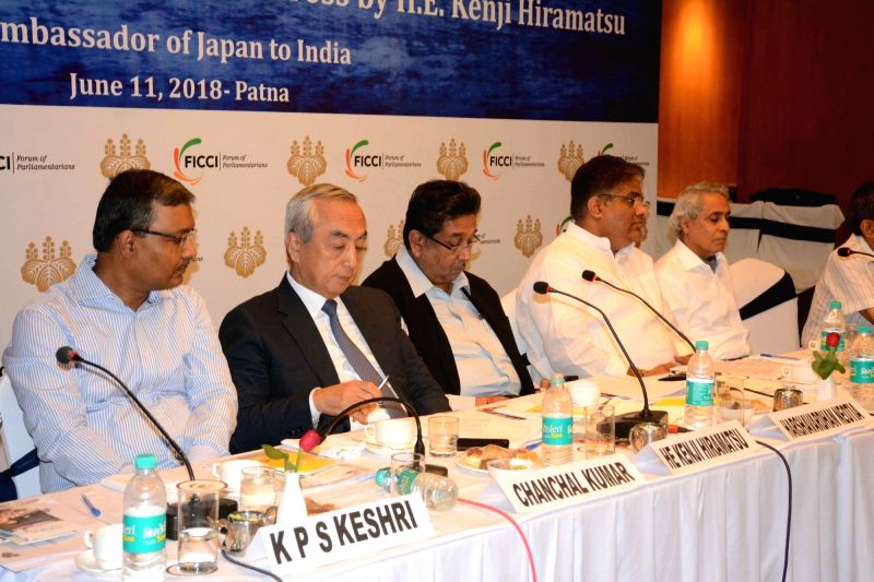 Japan's Ambassador to India Kenji Hiramatsu and other dignitaries during 'Japan meets Bihar' - a programme organised in Patna on June 11, 2018.