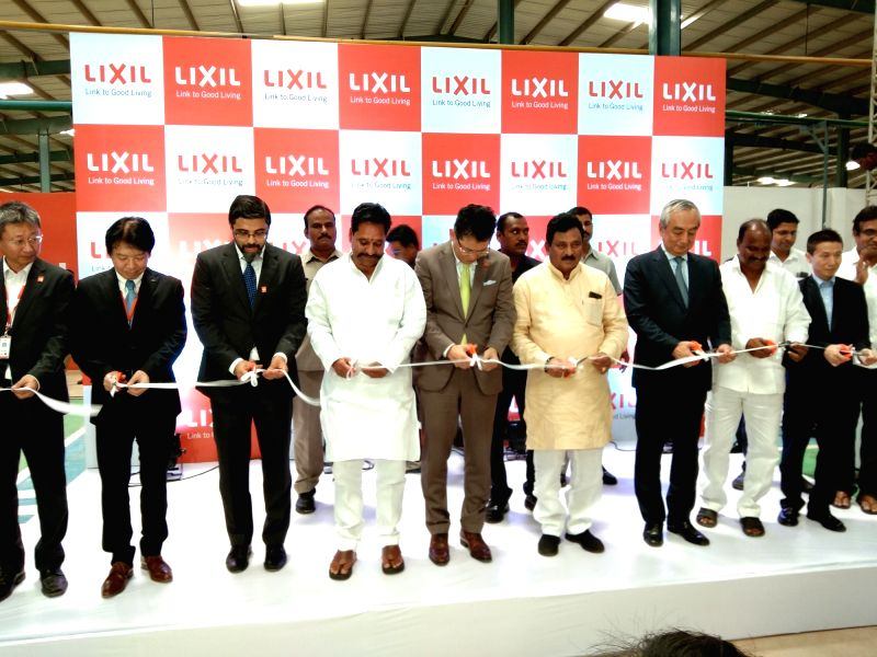 Japan's Ambassador to India Kenji Hiramatsu, LIXIL Group CEO Kinya Seto and Board of Directors during the inauguration of LIXIL India's new plant, in Bhimadole, Andhra Pradesh on Aug 8, ...