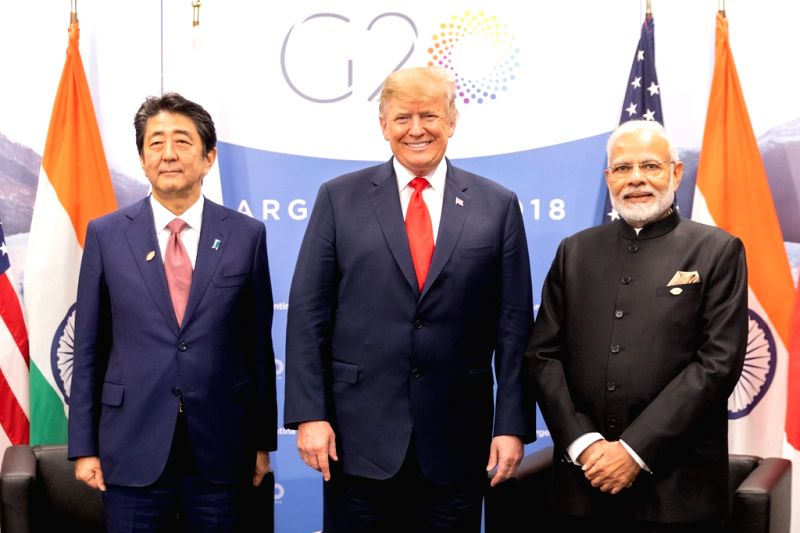 Japan's Prime Minsiter Shinzo Abe, US President Donald Trump and Primer Minister Narendra Modi at their trilateral summit in Buenos Aires