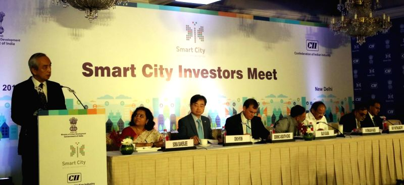 "Japanese Ambassador to India Kenji Hiramatsu addresses during ""Smart City Investors Meet"" organised by CII in New Delhi, on May 19, 2016. Also seen Union Minister for Urban ... - Venkaiah Naidu and Richard R. Verma"