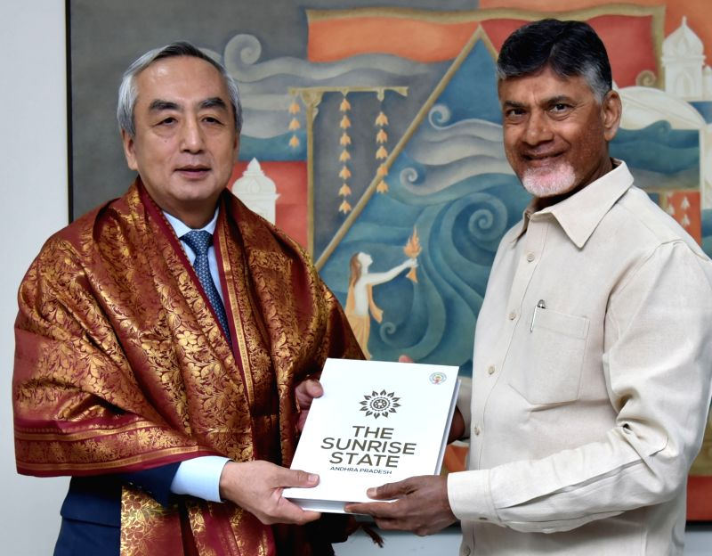 Japanese Ambassador to India, Kenji Hiramatsu meets Andhra Pradesh Chief Minister N. Chandrababu Naidu at his residence in Vijayawada, Andhra Pradesh on Aug 9, 2018. - N. Chandrababu Naidu