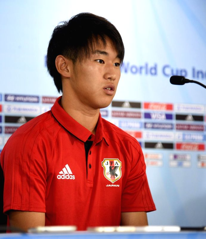Japanese captain Fukuoka Shimpei addresses during a press conference ahead of FIFA U-17 World Cup 2017 at the Indira Gandhi Athletic stadium in Guwahati on Oct 7, 2017. - Fukuoka Shimpei and Indira Gandhi Athletic