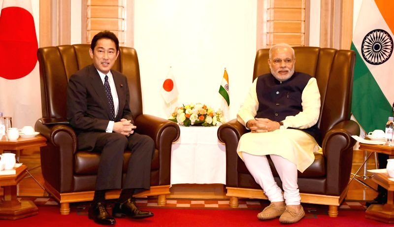 Japanese Foreign Affairs Minister Fumio Kishida calls on Prime Minister Narendra Modi, in Tokyo, Japan on September 01, 2014. - Fumio Kishida and Narendra Modi