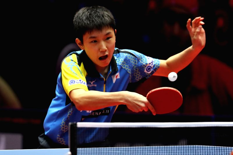 Japanese table tennis player Tomokazu Harimoto in action during 2017 ITTF World Tour India Open at Thyagaraj Sports Complex in New Delhi on Feb. 17, 2017.