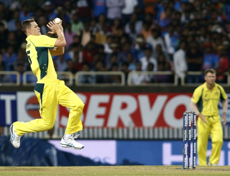 Jason Behrendorff of Australia in action during the first T20 match between India and Australia at JSCA International Stadium in Ranchi on Oct 7, 2017.