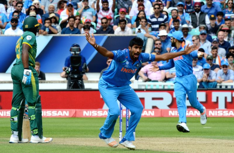Jasprit Bumrah of India celebrates fall of a wicket during an ICC Champions Trophy match between India and South Africa at Kennington Oval in London on June 11, 2017. (Photo: IANS)​