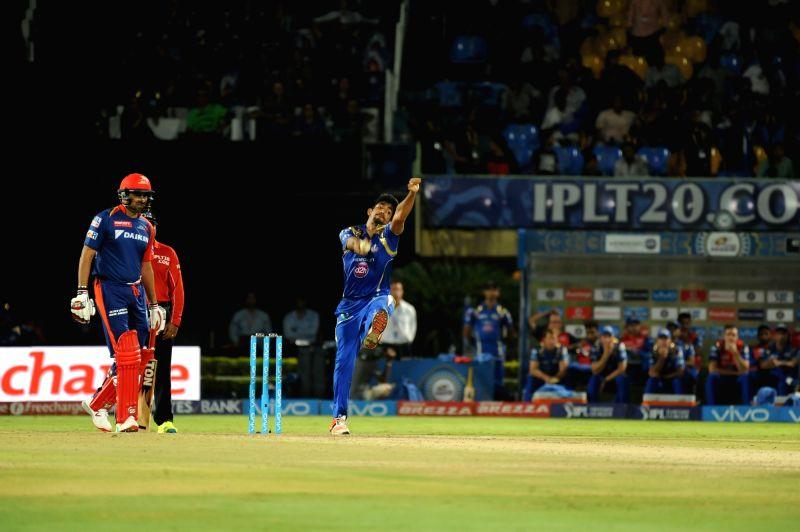 Jasprit Bumrah of Mumbai Indians in action during an IPL match between Mumbai Indians and Delhi Daredevils at Dr YS Rajasekhara Reddy ACA-VDCA Cricket Stadium in Visakhapatnam on May ... - Rajasekhara Reddy A