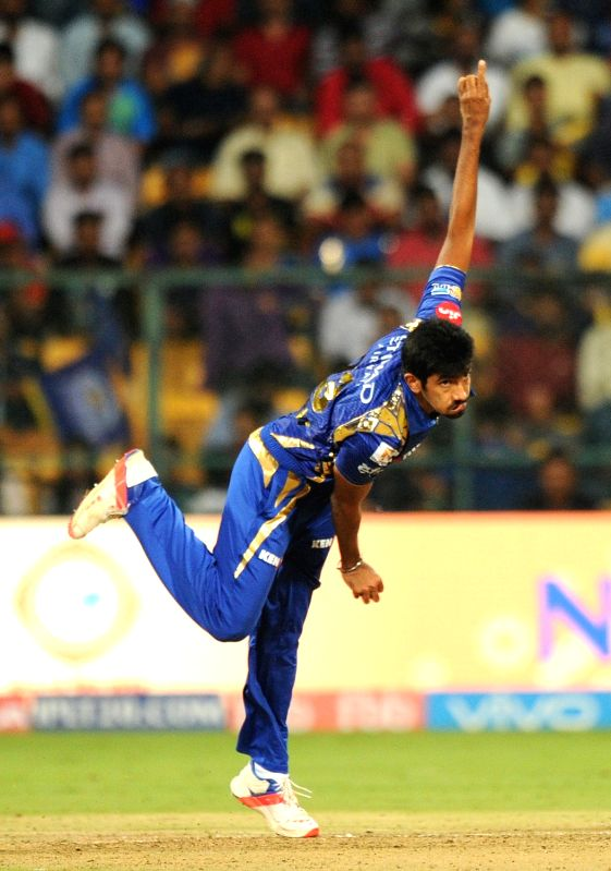 Jasprit Bumrah of Mumbai Indians in action during Qualifier 2 of IPL 2017 between Mumbai Indians and Kolkata Knight Riders at M Chinnaswamy Stadium in Bengaluru on May 19, 2017.