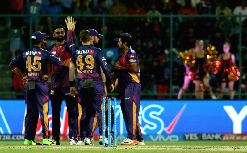 Jaydev Unadkat of Rising Pune Supergiant celebrates the wicket of Shreyas Iyer of the Delhi Daredevils during the match between the Delhi Daredevils and the Rising Pune Supergiant held at ...