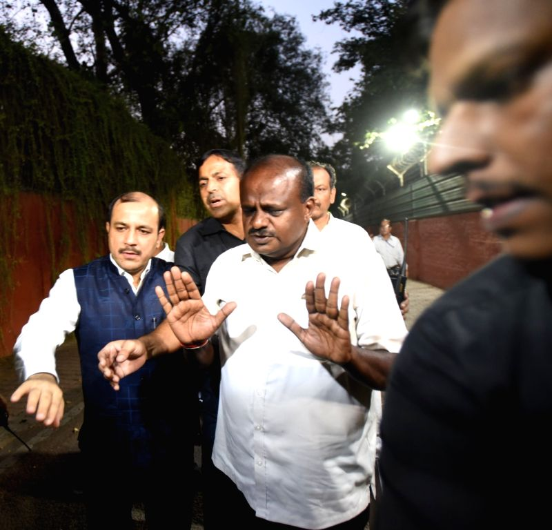 JD(S) leader Danish Ali and Karnataka Chief Minister designate H.D. Kumaraswamy come out after meeting Congress leaders Rahul Gandhi and Sonia Gandhi in New Delhi, on May 21, 2018. - Rahul Gandhi and Sonia Gandhi