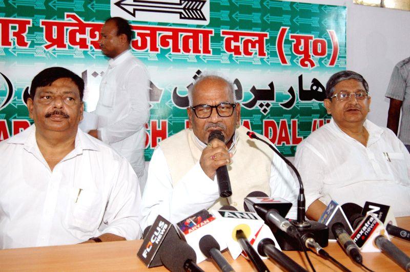 JD(U) Bihar unit president B N Singh addresses a press conference in Patna on Aug 12, 2014. - B N Singh