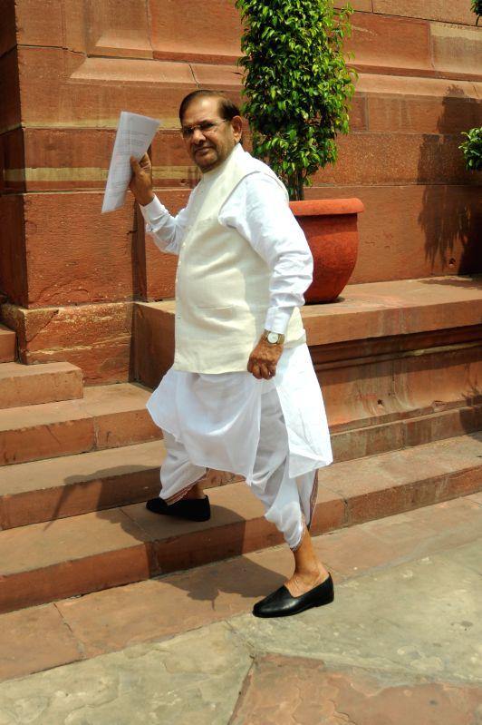 JD(U) chief Sharad Yadav at the Parliament in New Delhi on July 15, 2014. - Sharad Yadav