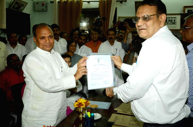 JD-U leader C.P. Sinha who has been elected unopposed to Rajya Sabha in Patna, on June 3, 2016. - P. Sinha