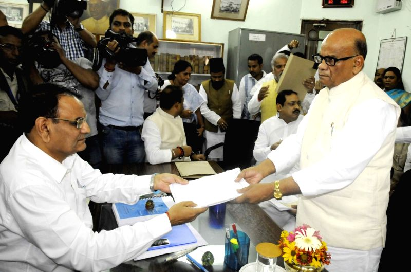 JD(U) leader CP Sinha files nominations for elections to Bihar Legislative Council at state assembly in Patna, on May 30, 2016.