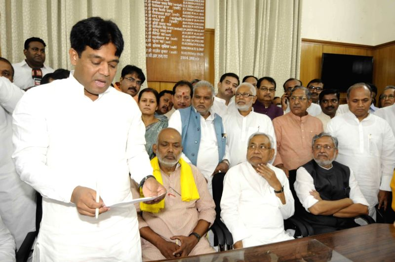 JD(U) leader Khalid Anwar files nomination papers for upcoming Bihar Legislative Council elections in Patna, on April 16, 2018.