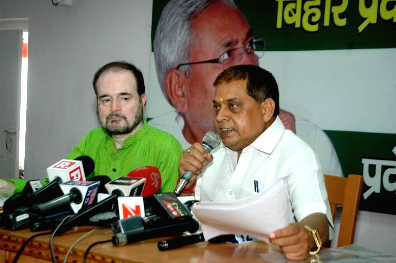 JD(U) leader Niraj Kumar addresses a press conference in Patna on May 24, 2017. - Niraj Kumar