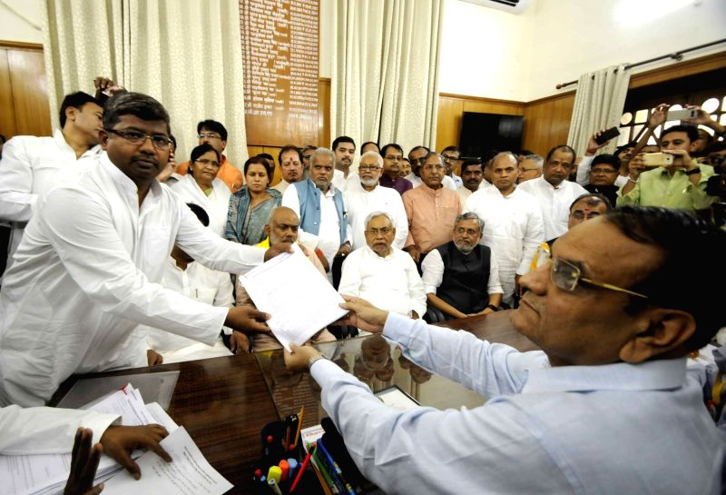 JD(U) leader Rameshwar Mahto files nomination papers for upcoming Bihar Legislative Council elections in Patna, on April 16, 2018.