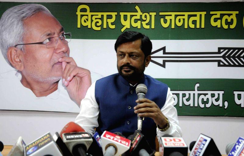 JD(U) leader Sanjay Singh addresses a press conference on Patna on May 5, 2017. - Sanjay Singh