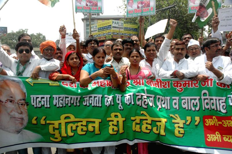 JD(U) workers stage a demonstration against dowry and child marriage in Patna on May 7, 2017.