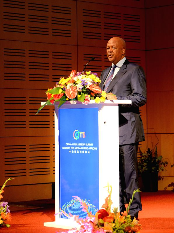 Jeff?Radebe, South Africa's minister in the Presidency,?reads the congratulatory letters from South Africa's President Jacob Zuma, during the opening of the ...