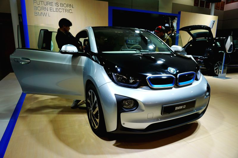 A BMW electric car is displayed during the International Electric Vehicle Expo (IEVE) held in Jeju island of South Korea, on March 6, 2015. The second International ...