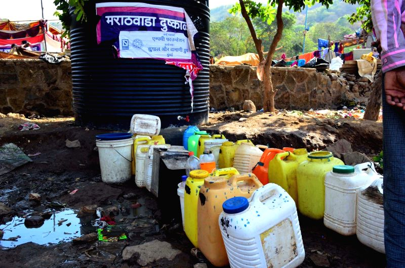 Jerrycans belonging to People from drought hit Latur at Ghatkopar of Mumbai on May 8, 2016.