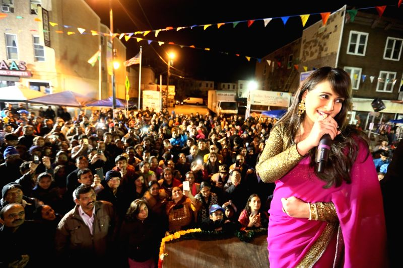 Jersey City: Actress Preeti Jhangiani during a Diwali programme at Newark Ave in Jersey City, US on Oct 31, 2015.