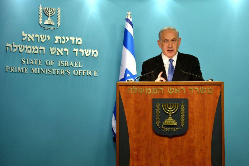 Israeli Prime Minister Benjamin Netanyahu delivers a statement to the press at the Prime Minister's office in Jerusalem, on April 3, 2015. Israeli Prime Minister ... - Benjamin Netanyahu