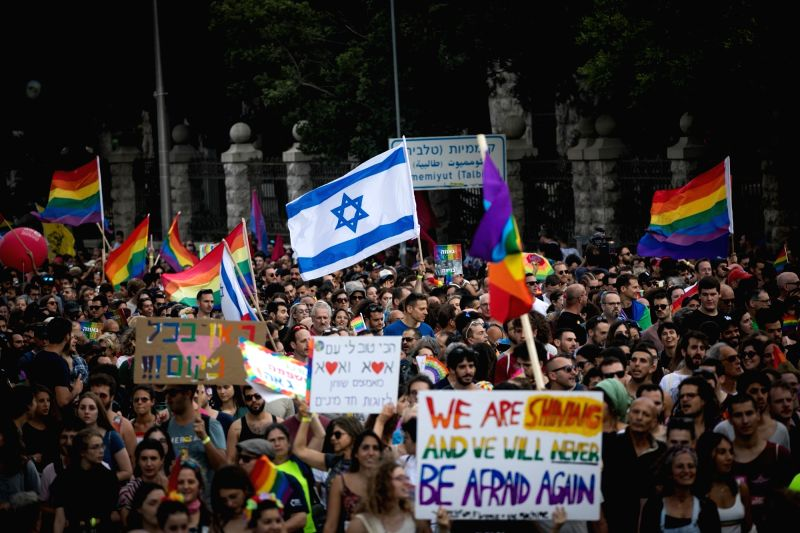 JERUSALEM, Aug. 2, 2018 - People take part in the gay pride parade in Jerusalem, on Aug. 2, 2018. As many as 30,000 participants took part in Jerusalem's gay pride parade on Thursday.
