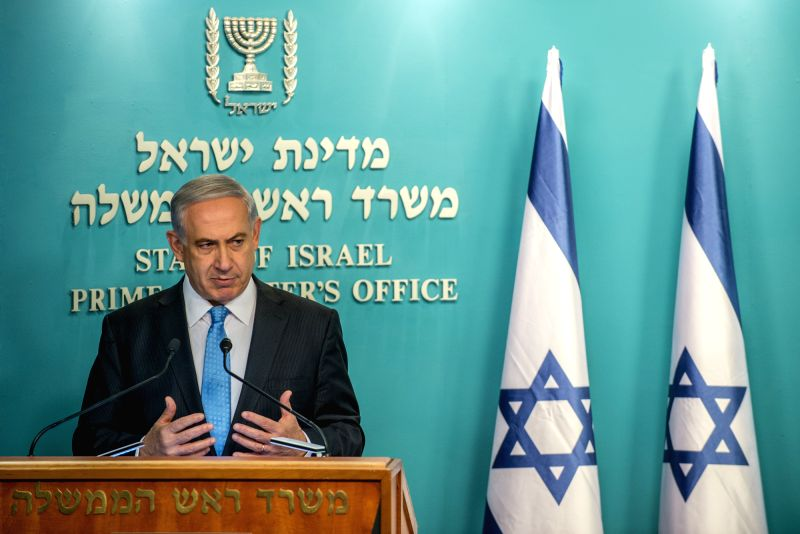 Israeli Prime Minister Benjamin Netanyahu addresses a press conference at the Prime Minister's Office in Jerusalem, on Aug. 27, 2014. Israelis and Palestinians on