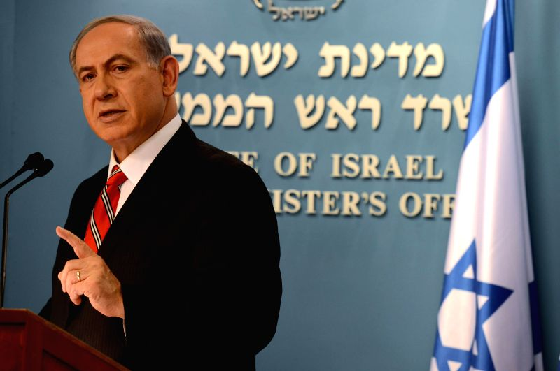 Israeli Prime Minister Benjamin Netanyahu addresses a news conference in Jerusalem, on Aug. 6, 2014. Israeli Prime Minister Benjamin Netanyahu said on Wednesday ...