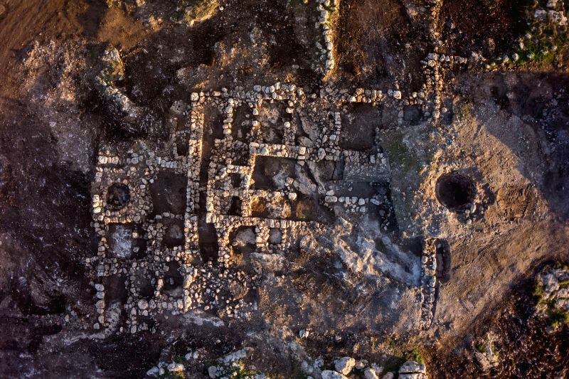 Handout photo of Israel's Antiquities Authority released on Dec. 15, 2014, shows an aerial view of a 2,800-year-old farmhouse in the the city of Rosh HaAyin, ...