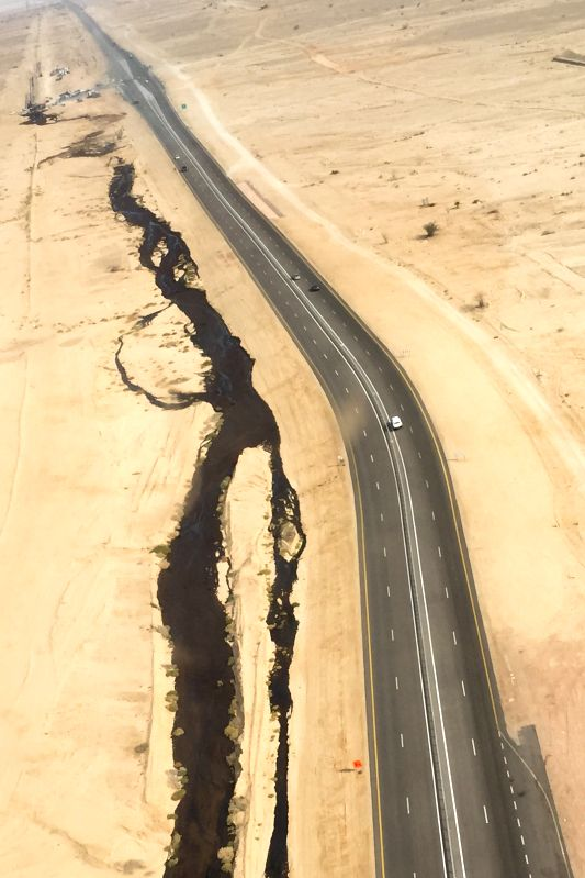 Jerusalem (Israel): Handout aerial photograph provided by the Israeli Ministry of Environmental Protection shows a large oil spillage caused by an oil pipeline that breached during maintenance work ..