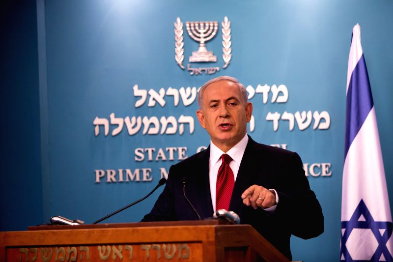 Israeli Prime Minister Benjamin Netanyahu delivers a statement to the media at the Prime Minister's office in Jerusalem, on Nov. 18, 2014. Israeli Prime Minister Benjamin Netanyahu accused