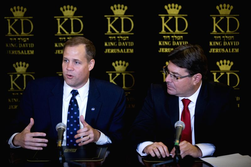 JERUSALEM, July 12, 2018 - Israeli Minister of Science, Technology and Space Ofir Akunis (R) and Administrator of the U.S. National Aeronautics and Space Administration (NASA) Jim Bridenstine attend ...