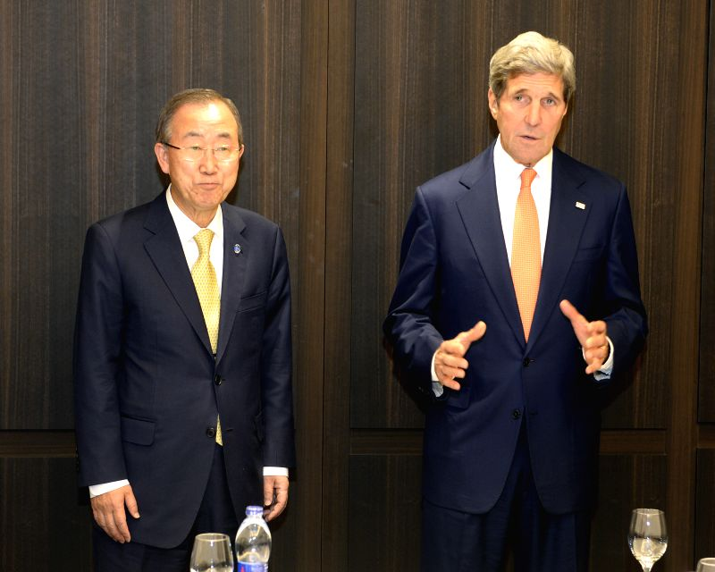U.S. Secretary of State John Kerry (R) meets with the UN Secretary-General Ban Ki-moon at the David Citadel Hotel, Jerusalem, on July 23, 2014. John Kerry arrived