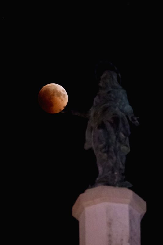 JERUSALEM, July 27, 2018 - Photo taken on July 27, 2018 shows the moon during the longest total lunar eclipse of the century in Jerusalem.
